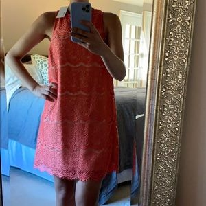 CORAL AND NUDE LACE DRESS